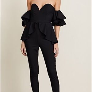 NWT Fame and Partners Black Ruffle Jumpsuit